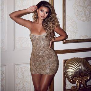 Oh Polly Drop a Glint Embellished Mini Dress